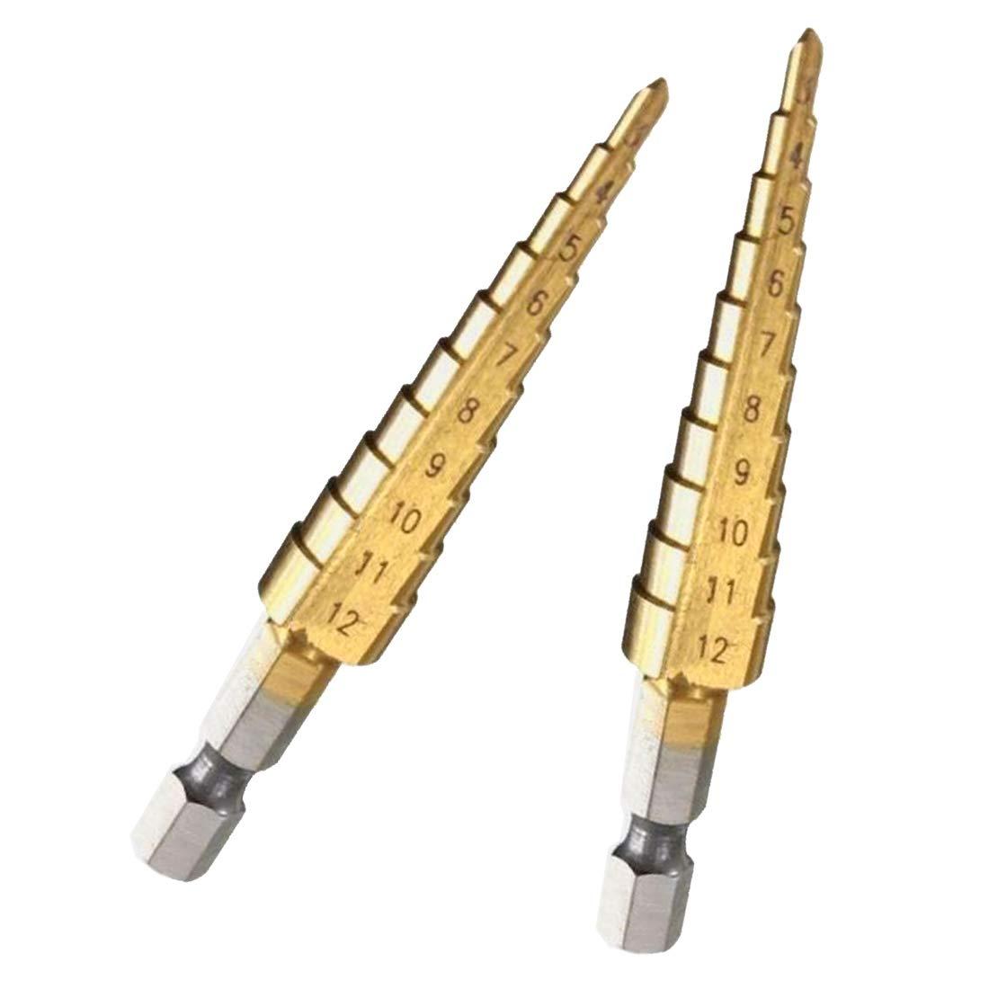 Titanium Step Drill Bits 3-12mm HSS Power Tools HSS Wood Metal Drilling Luwu-Store