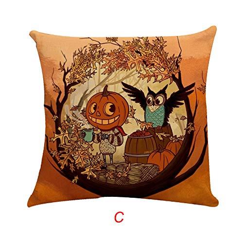 kaifongfu Halloween Pillow Case Square Cotton Linen Cushion Cover Home Sofa Decor(Multicolor C) -