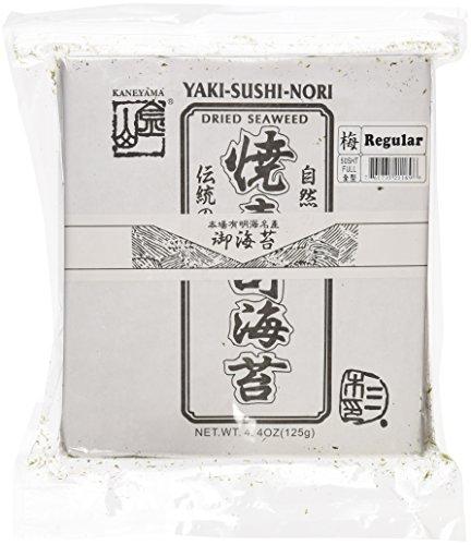 Kaneyama Yaki Sushi Nori / Dried Seaweed (Vacuum-packed/re-sealable), Regular Black Grade, Full Size, 50 Sheets