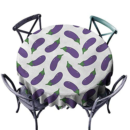 VIVIDX Tablecloth for Kids/Childrens,Eggplant,Yummy and Funny Eggplants Kid Friendly Drawing Nutritious Meals Vegan Natural,Table Cover for Home Restaurant,70 INCH,Violet White for $<!--$38.02-->