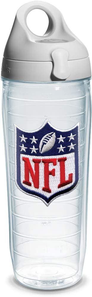 Tervis NFL Logo Shield Emblem Individual Water Bottle with Gray Lid, 24 oz, Clear -