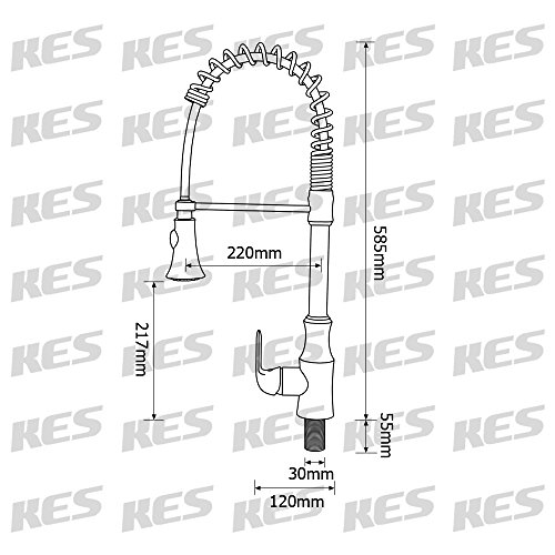 KES cUPC NSF Certified BRASS Singel Handle Pull Down Kitchen Faucet with Retractable Pull Out Wand, High Arc Swivel Spout, Titanium Gold, L6936BLF-PG by Kes (Image #3)