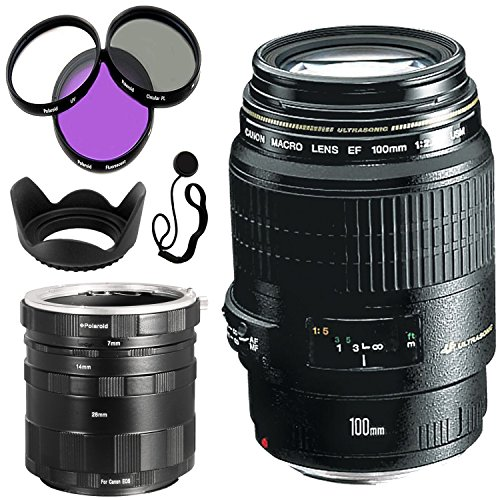 Canon EF 100mm f/2.8 Macro USM Fixed Lens for Canon SLR Cameras + Polaroid Canon EOS Macro Extension Tube Set For Extreme Close Up Photography + 58mm 3 Piece Filter (Canon Eos Extension Tubes)