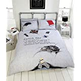 CAT CHOCOLATE FEET LAZY DAY GREY BLACK RED CANADIAN QUEEN SIZE (COMFORTER COVER 230 X 220 - UK KING SIZE) (PLAIN WHITE FITTED SHEET - 152 X 200CM + 25 - UK KING SIZE) 4 PIECE BEDDING SET