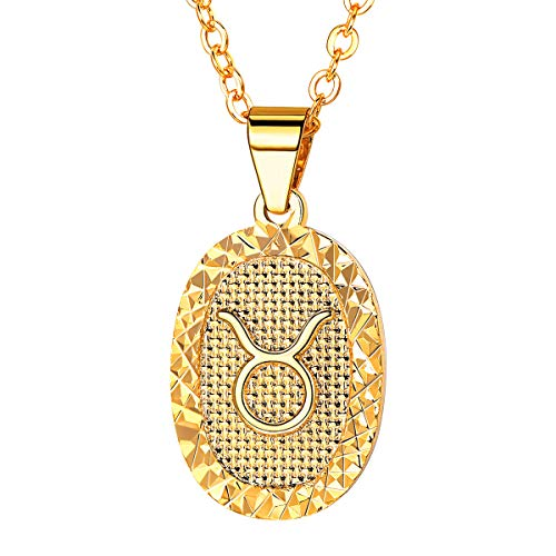 (FOCALOOK Women Zodiac Sign Taurus Jewelry 18k Gold Plated Oval Constellation Horoscope Pendant Necklace Birthday Gift )