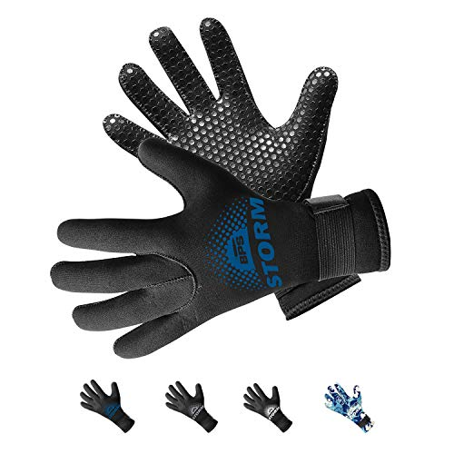 BPS Neoprene 5mm Scuba Diving Gloves with Non-Slip Grip Design for Fisherman, Surfers, Divers, Paddleboarder, Wakeboarder, Swimmer (Black/Snorkel Blue, XL)