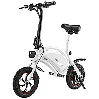 5 Cheap Best Electric Bikes Under 500: ANCHEER Folding Electric Bicycle/E-Bike/Scooter 350W Ebike with 12 Mile Range, APP Speed Setting (White-6AH)