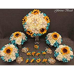 Teal, Turquoise,and Yellow Sunflower Bridal Bouquets Wedding Flower 18 piece package with BEADED LILIES and silk Roses~ Corsages and Boutonnieres. Unique French beaded flowers. Ivory/Cream and gold 71