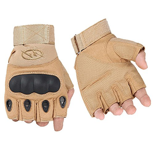 Oksport Men's Outdoor Gloves Half Finger Fingerless Cycling Motorcycle Gloves (Tan, XL) - Road Adult Batting Glove