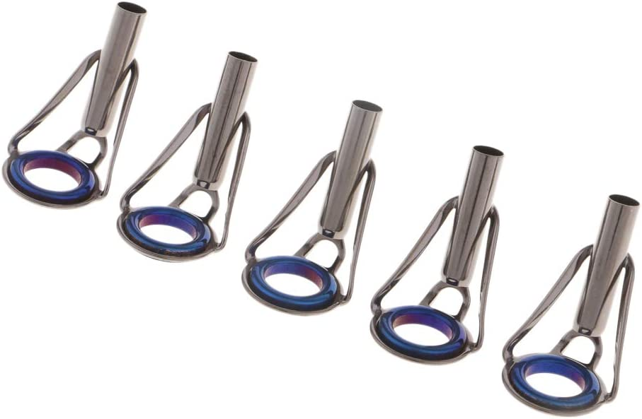 IPOTCH 5pcs Fishing Rod Guides Tip Repair Kit DIY Top Eye Rings