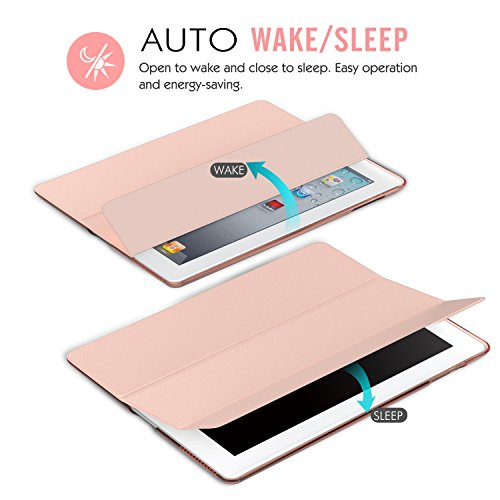 Moko Case for iPad 2/3 / 4 - Ultra Lightweight Slim Smart Shell Stand Cover with Translucent Frosted Back Protector for iPad 2 / The New iPad 3 (3rd Gen) / iPad 4, Rose Gold (with Auto Wake/Sleep) by MoKo (Image #7)