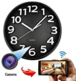 WIFI HD SPY Hidden IP Camera DVR Wall Clock Real-Time Nanny Cam Night Vision, Loop Recording, Micro SD Card