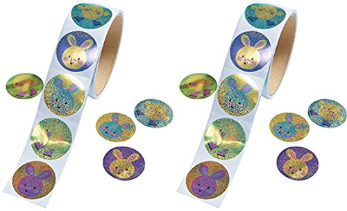 Easter Stickers - Prismatic Easter Bunny & Chick (2 Rolls)