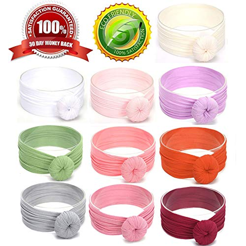 - Baby Girl Headbands Bows Top Knot headbands head wraps Newborn Hair Band Nylon Headbands