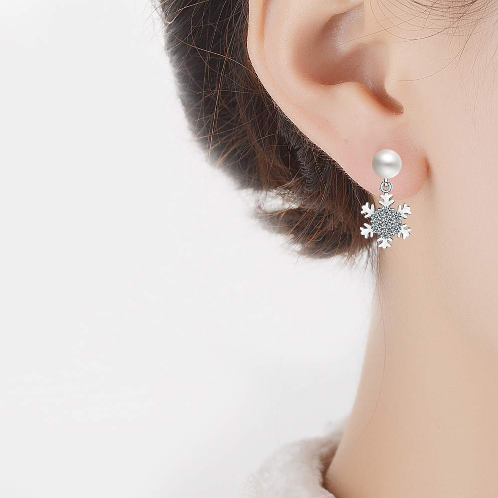 1 Pair Houlife Asymmetrical Copper Winter Snowflake Drop Dangle Stud Earrings Christmas Flower Dangle Ear Studs Jewelry Clear CZ Imitation Pearl for Women Girls