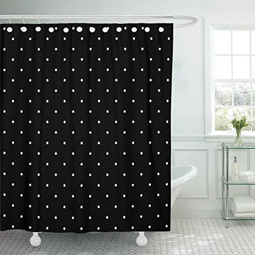 Emvency Shower Curtain Colorful Abstract Polka Dot Pattern in Black and White Design Color Polkadots Waterproof Polyester Fabric 72 x 72 inches Set with Hooks