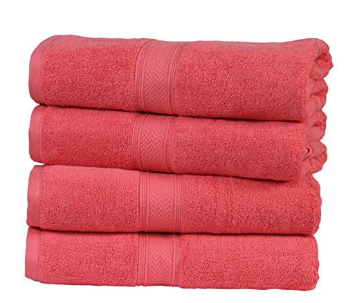 (HILLFAIR 4 Pack Cotton Bath Towels Set- 600 GSM 100% Combed Cotton Bath Towel Set- 28