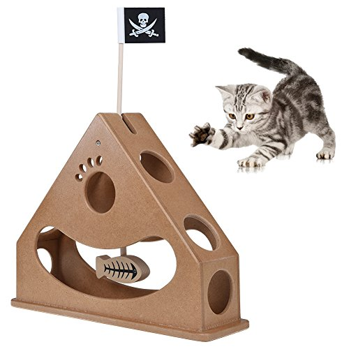 Peatcc Hide and Seek Cat Toy Box Wood Pendulum Style Interactive Puzzle Toys Funny Cat Pendulum-style Chase Toy with Dangle Fish and Pirate (Flag Dangle)