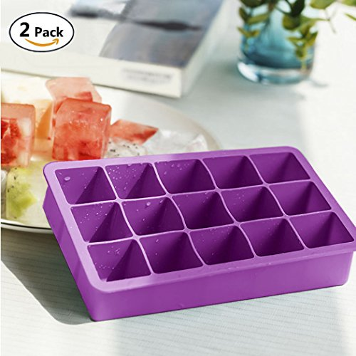 Small Silicone Ice Cube Tray Chocolate Candy Molds, VIVIEU Flexible 15 Cavity Rubber Ice Tray for Chilling Burbon Whiskey Cocktails Scotch, Great (Rubber Candy)