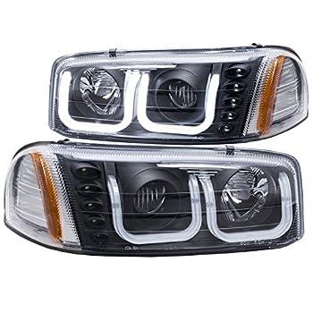 Image of AnzoUSA 111303 GMC SIERRA 99-06 / YUKON/XL 00-06 / DENALI MODELS 01-06 PROJECTOR HEADLIGHTS U-BAR BLACK CLEAR Headlight Assemblies