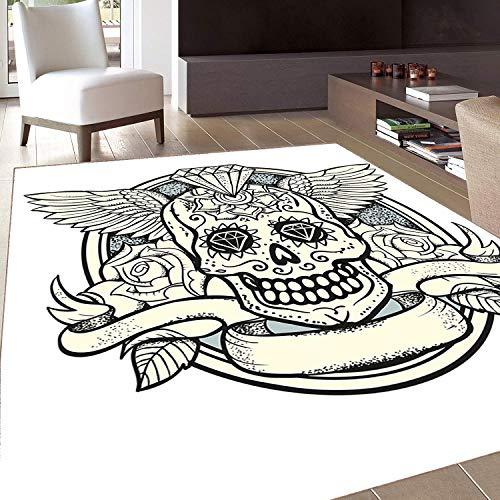 - Rug,FloorMatRug,Sugar Skull Decor,AreaRug,Illustration of Calavera Diamond Figure and Roses Vintage Revival,Home mat,5'8