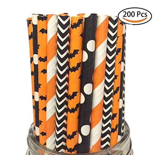 Halloween Paper Straws Set of 200, Biodegradable & Reusable Assorted Drinking Large Straw, Bulk Paper Straws for Juice, Shakes, Smoothies, Wedding, Bridal/Baby Shower, Party Suppliers (Halloween) -
