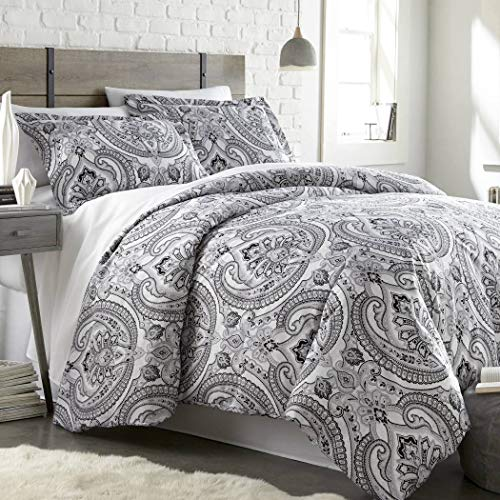 3 Piece Black Grey Classic Paisley Pattern Duvet Cover King/Cal King Set, Beautiful Girly Motif Floral Reversible Bedding Gray White Bohemian Textured Design, Classic Style, Bright Colors, Microfiber Black And White Paisley Duvet Cover