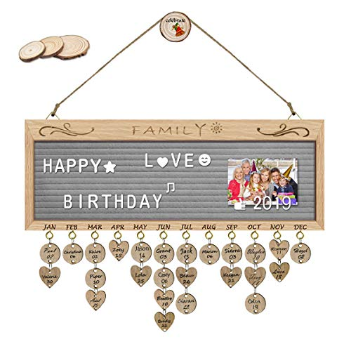 - ElekFX Family Birthday Calendar Felt Letter Board Message Sign Wall Hanging Wood Family Birthday Reminder Wall Plaque Changeable Message Board for Birthday Gift Home Bar School Decor