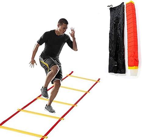 Mancru Escalera de Agilidad para Entrenamiento de Agilidad, Escalera de Velocidad Plana con Bolsa de Transporte, 45.93 Feet, 28 rungs: Amazon.es: Deportes y aire libre