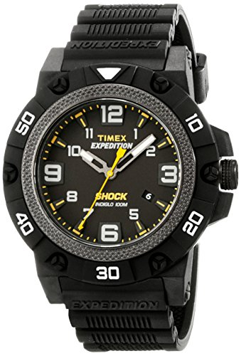 Timex Men's TW4B01000 Expedition Field Shock Black Resin Strap Watch (Black Strap Resin)