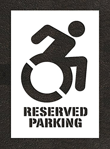 """NY DOT Accessible Icon - 40"""" HANDICAP STENCIL with RESERVED PARKING words - NYSDOT, NYC, NY - ADA Plastic Paint Template, 40"""" symbol x 1/16"""" thick (63 mil)"""