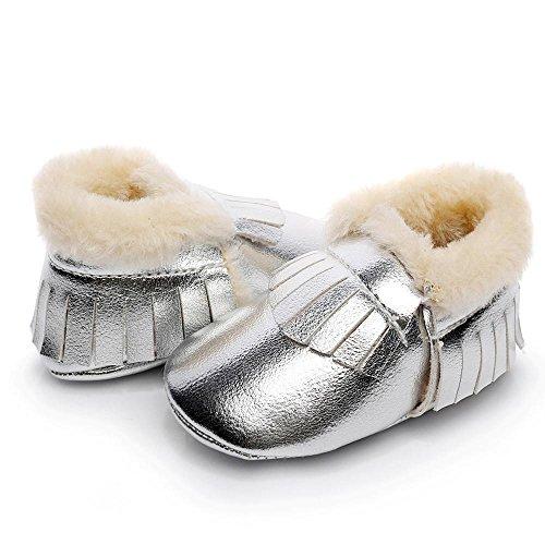 Ouneed® Krabbelschuhe , Baby weiche Sohle Schnee Aufladungen weiche Krippe schuhe Kleinkind Aufladungen Silber