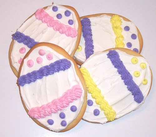 Scott's Cakes Lavender, Pink, and Yellow Iced Sugar Egg Cookies 1lb. Box (Decorated Cookie Cake)