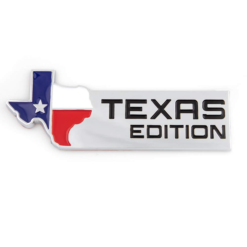Silver 1X Texas Edition Emblem Long Horn State Flag Premium Badge for SUV Pickup Truck