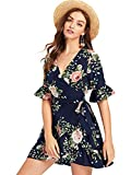 SheIn Women's Casual V Neck Self Tie Waist Ruffle A-Line Wrap Dress Floral Navy Large
