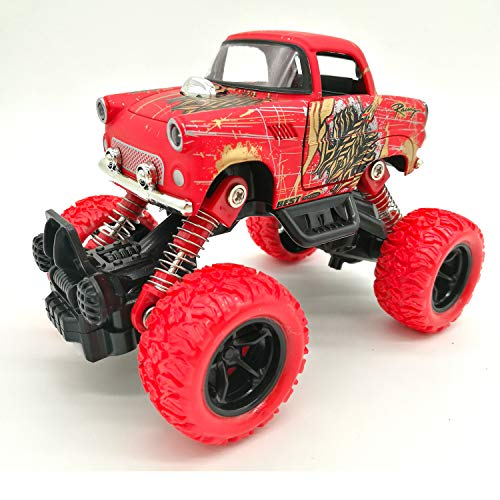- Toy car for children-Simulated four-wheel-drive shock-absorber suv climbing before and after four springs of children's alloy toy cars (red classic car)