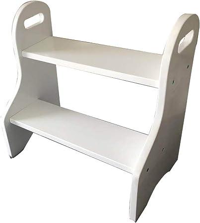 Taburete de escalera de madera maciza, Taburete con dos peldaños, Escaleras de cama para niños Reposapiés antideslizantes Construcción Escaleras de cama para el hogar Oficina Armario de cocina En: Amazon.es: Hogar