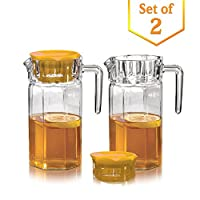 Set of 2 Glass Fridge Pitchers with Yellow Lids - Water Jug with Easy Pour Spout and Handle - For Water, Iced Tea, Juice, Lemonade (50 Oz.)