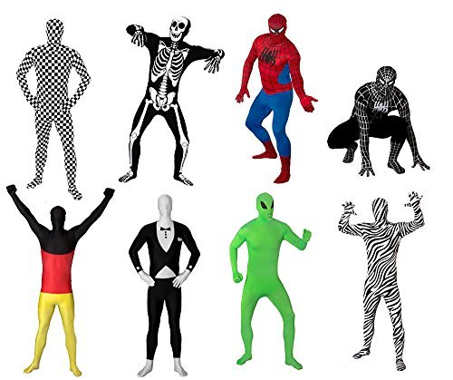 FUNSUIT Skeleton Bodysuit Suit Halloween Costume Size S / M / L / XL / XXL [M] - Skeleton Spandex Bodysuit