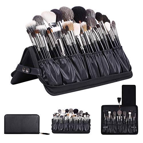 Rownyeon Professional Makeup Brushes Organizer Bag Makeup Artist Cosmetic Case Leather Makeup Handbag Black Travel Portable(Only Bag) Large (Brush Case)