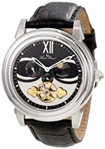 Lucien Piccard Men's 28195BK Bismark Mechanical Automatic Black and White Dial Black Leather Watch