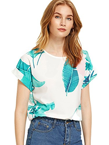 Milumia Women's Boho Print Batwing Sleeve Top High Low Chiffon Blouse X-Large White-Blue ()