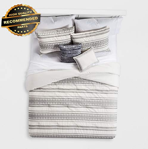 Global Stripe - Gatton Premium New Cream Tatia Global Woven Stripe Cotton Comforter Set 5pc | Style Collection Comforter-311012769