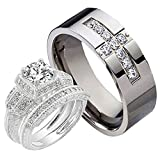 His and Hers 3 pcs Wedding Ring Set 1.6CT Sterling Silver 925 Cubic Zirconia Cross CZ Titanium Sz7,9