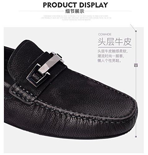 Happyshop Heren Koe Lederen Gesp Mocassin Comfort Instapper Zwart Loopschoenen Loafers Zwart