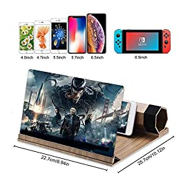 "12""3D HD Screen Magnifier, Solid Wood Grain Foldable Mobile Phone Screen,Suitable for Watching Movie Videos on All…"