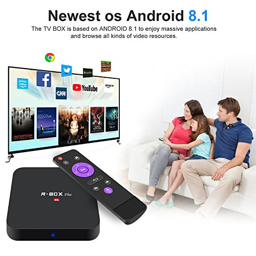 Android 8.1 Smart TV Box - SCS ETC R-Box Plus 2018 New Generation Android TV Box with RK3328 Quad-Core 64bit Cortex-A53, 2GB+16GB, Built-in Wi-Fi, HDMI Output, USB4, 4K UHD Web TV Box