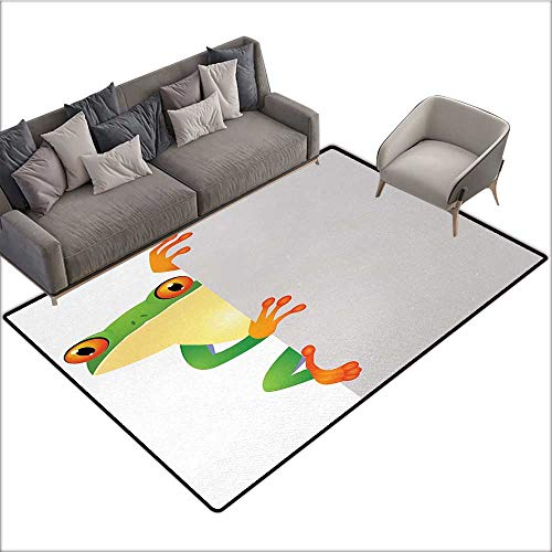 Reptile Non-Slip Floor mat Funky Frog Prince with Big Eyes on Wall Camouflage Nursery Reptiles Decor 78