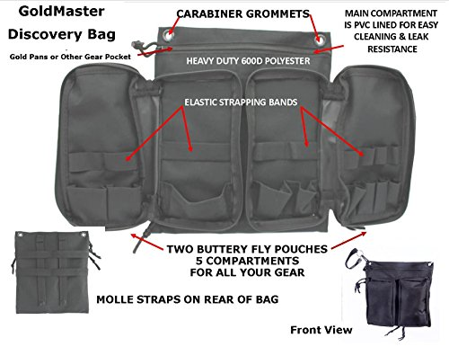 VAS 21 PC Black Prospectors Gold Panning Pan Essentials Set Kit | Molle Bag  | 2 Gold Pans | Adults | Kids | Beginners Too! | Equipment for Metal