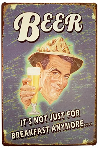 ERLOOD Beer It's Not Just for Breakfast Anymore Retro Vintage Decor Metal Tin Sign 12 X 8